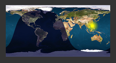 概日リズムの状態を示す世界地図