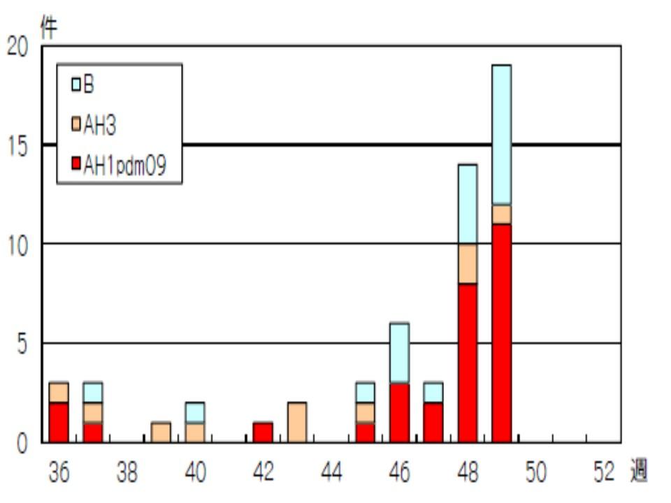B型の報告が目立つグラフ