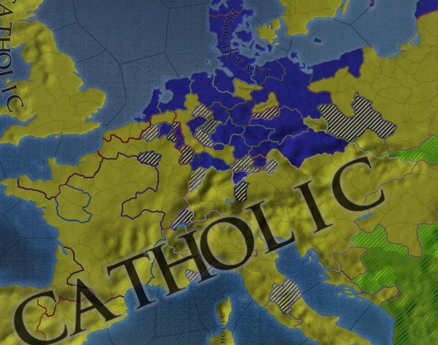 ヨーロッパにおけるカトリックとプロテスタントの分布図