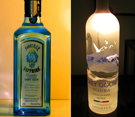 ジンとウオッカのボトル