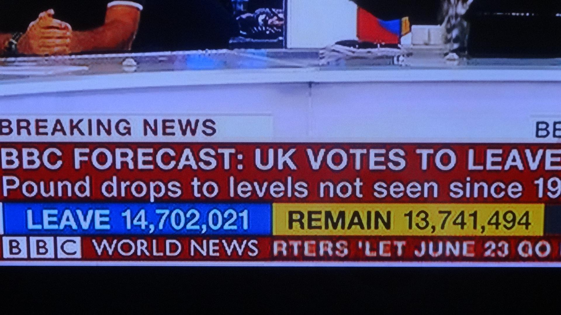 結果を伝えるBBCニュース