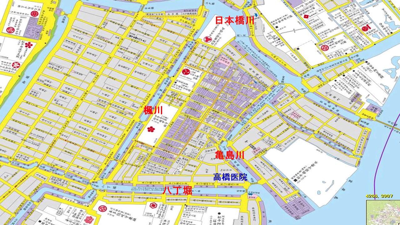 4つの川 水路を説明する地図