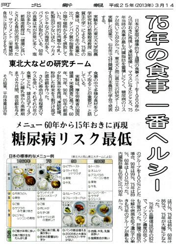 1975年頃に日本人が食べていた食事が良いことを報道する記事