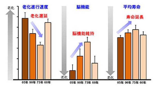 年度別の老化進行速度 平均寿命などの変化を示すグラフ