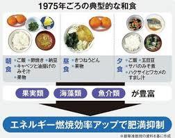 1975年頃の日本食の利点をまとめた図