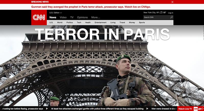 パリでのテロを伝えるCNNニュース