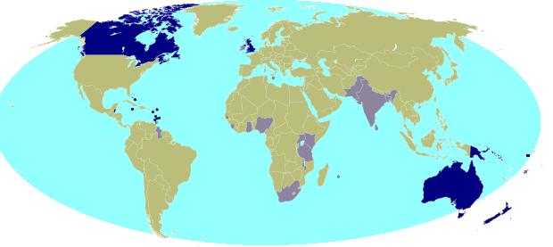 世界に分布する英連邦の国々