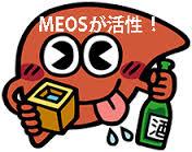 大量飲酒時のMEOS活性増強の様子