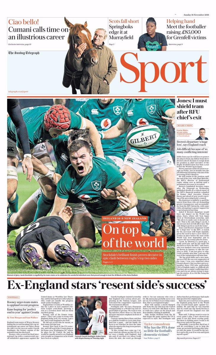 アイルランドの勝利を伝えるスポーツ紙
