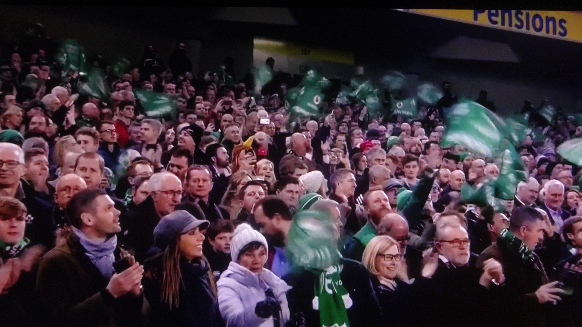 大喜びのアイルランドの応援団