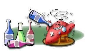 お酒をたくさん飲む肝臓のイラスト