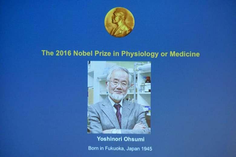 大隅先生の受賞を伝えるノーベル財団のホームページ