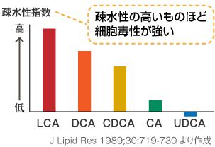 二次胆汁酸の細胞毒性を示したグラフ