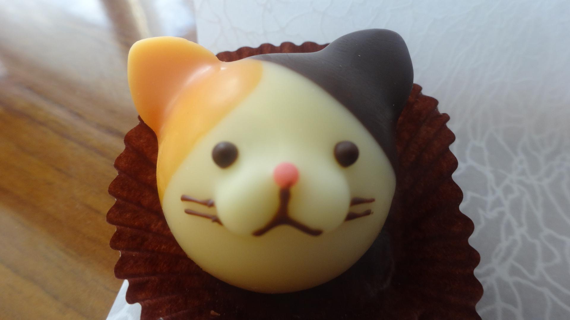 黄色いネコの顔のチョコレート