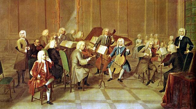 昔のヨーロッパでバロック音楽が演奏されている様子