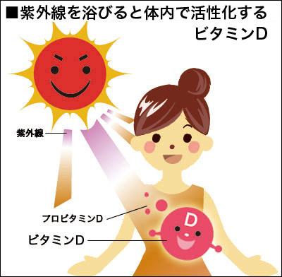 紫外線が体内でビタミンDを活性化することをアピールする図