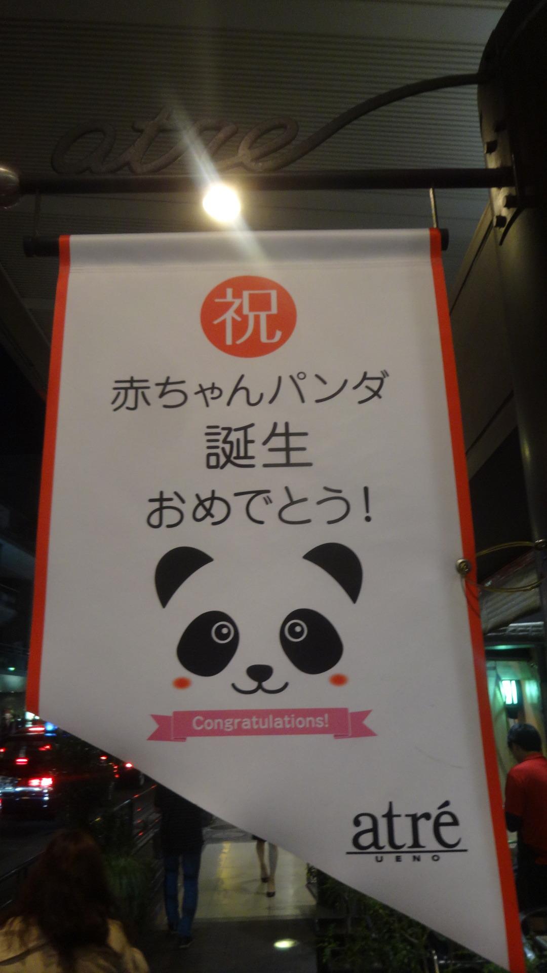 パンダ誕生を祝う上野の街にはためく旗