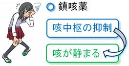 咳喘息には咳中枢を抑制する鎮咳薬が効かない理由を示す図