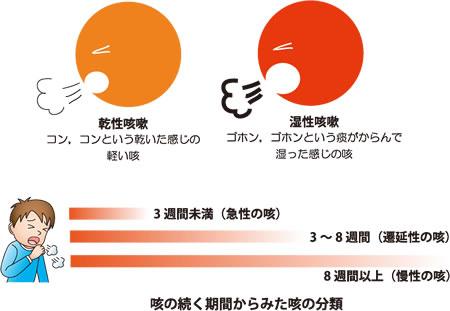 乾いた咳 痰が絡む湿った咳の差異を示す図