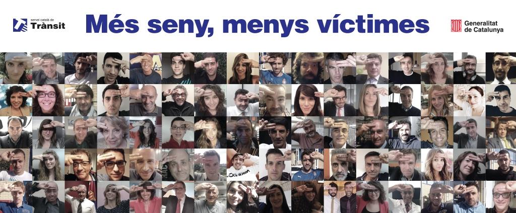 Senyと書かれた多くのカタルーニャ人の顔が映ったポスター