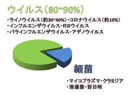 風邪の原因のほとんどがウイルスであることを示すグラフ width=