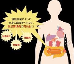 慢性炎症が全身の生活習慣病の原因となることを警告する図