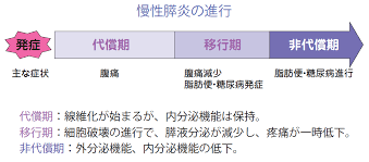 慢性膵炎の進行を示す図