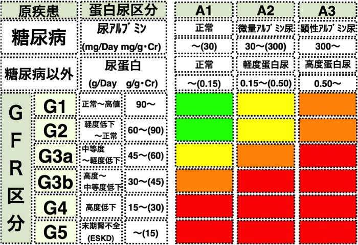 ckdの重症度分類を示す表