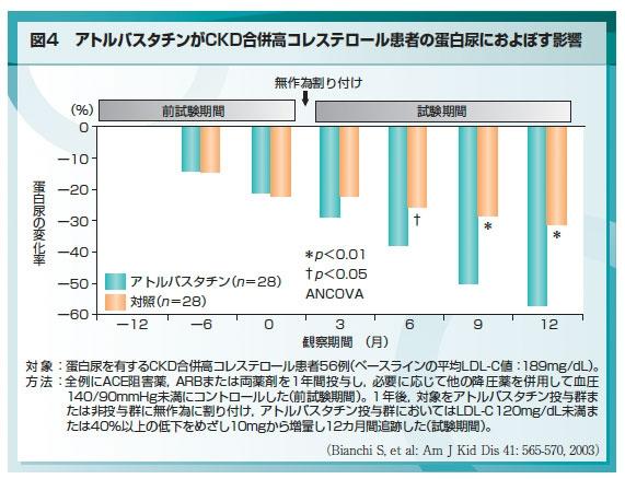 脂質異常症の治療により蛋白尿 微量アルブミン量の減少と 腎機能低下の抑制が期待されることを示す図