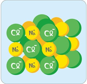 マイナスに荷電したクロールがナトリウムや水素などと結合している図