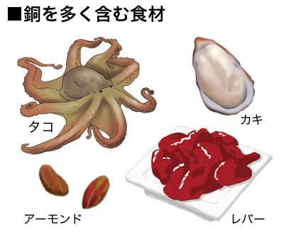 銅を多く含む食品をまとめた図