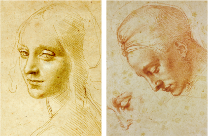 ダヴィンチの自画像 と ミケランジェロの「レダと白鳥」の頭部のための習作のより精密な写真