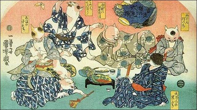 国芳が描いた擬人化したネコたち