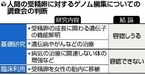 日本の生命倫理専門調査会が出した判断書