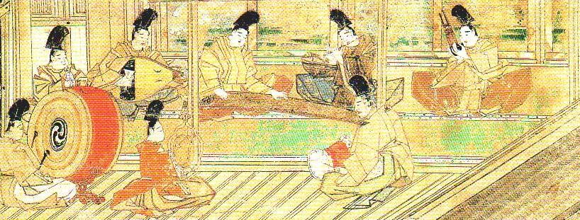 宮廷や貴族社会 神社などで雅楽が演奏される様子