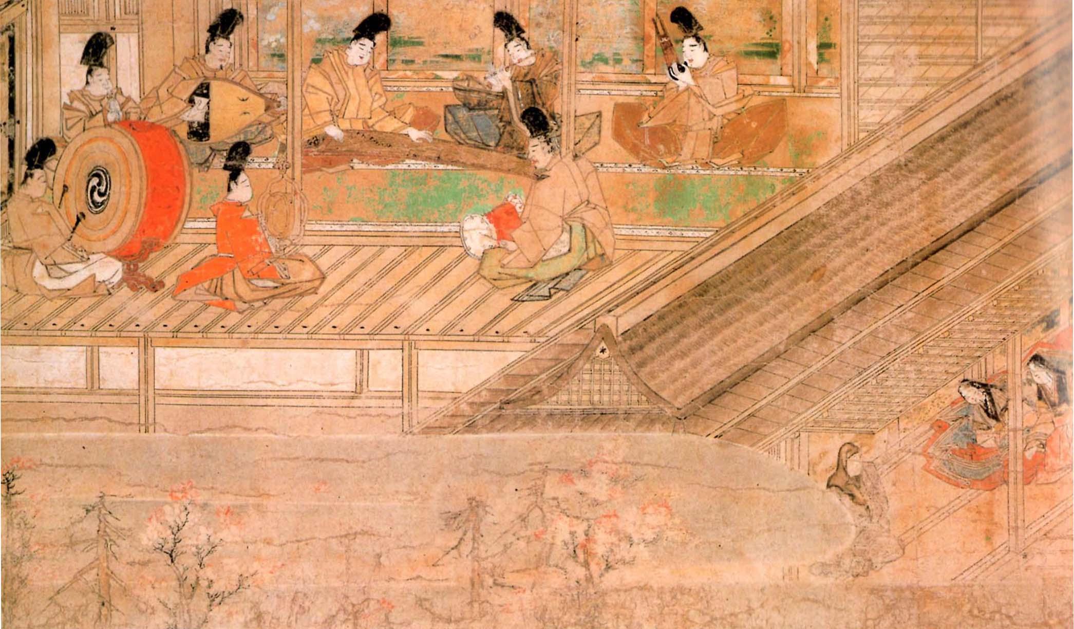 平安時代の絵巻物に描かれた平調越天楽残楽三返を演奏する様子