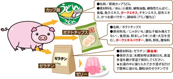 様々な食品に含まれている豚肉成分をまとめた図