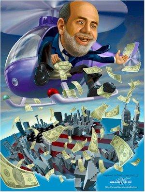 ヘリコプターからドル紙幣をばらまく金融緩和政策を行う人