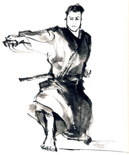 右手で刀を抜く侍のイラスト