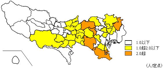 都内の流行地域を示す地図