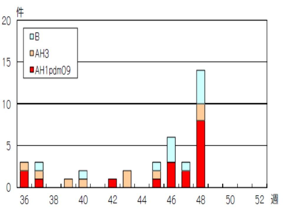 今年はAH1型が流行していることを示すグラフ