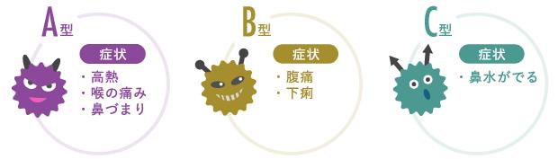 インフルエンザの型の説明図
