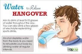 水分補給が二日酔いを防ぐことを強調するポスター