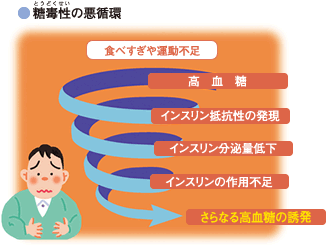 高血糖自体が更なる高血糖を招いて悪循環を形成することを示す図