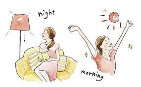 寝室での明るい照明の使用を避けるように勧めるポスター