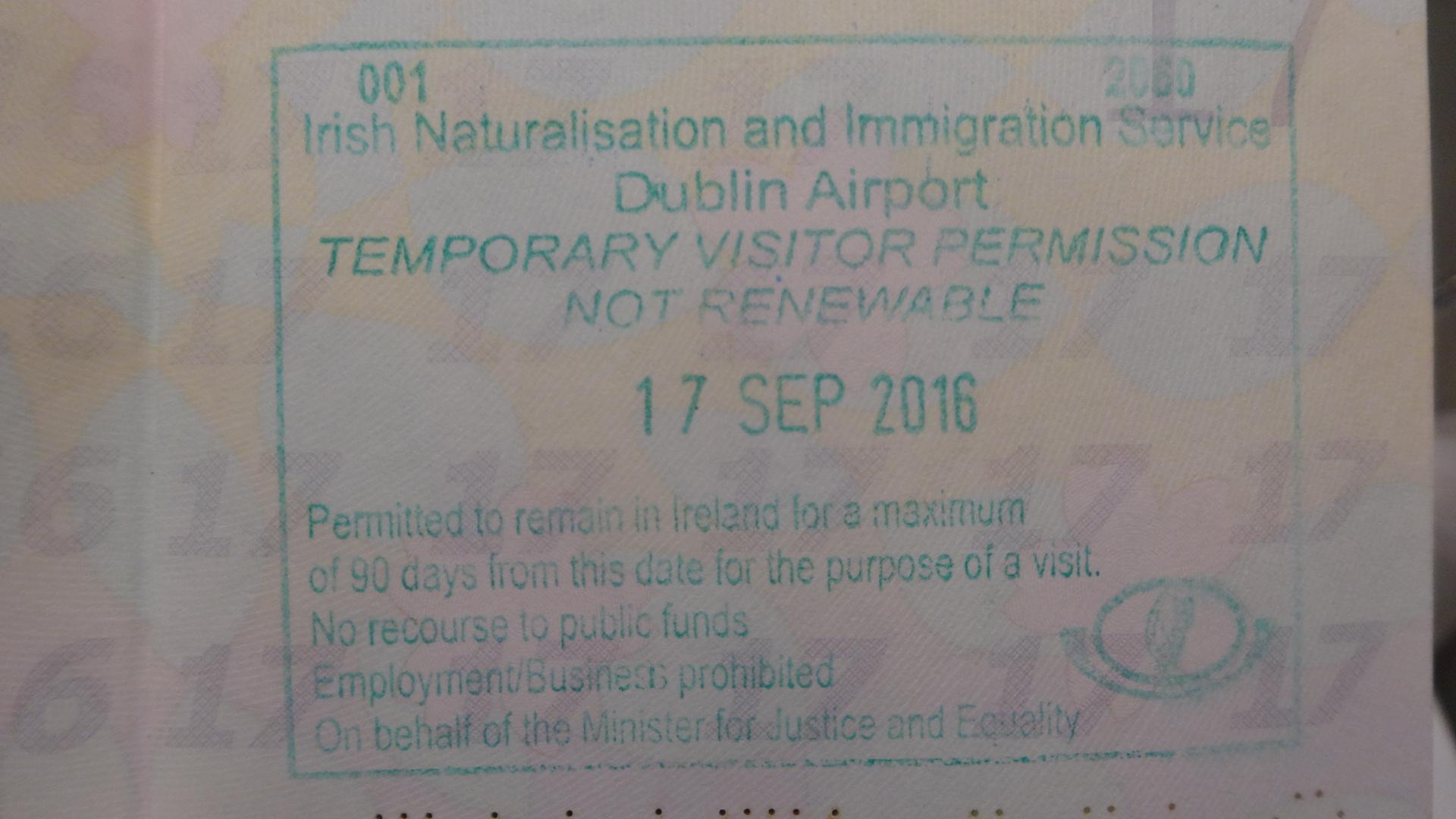 アイルランドの入国スタンプ