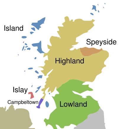 スコットランドのウイスキー醸造地域を示す地図