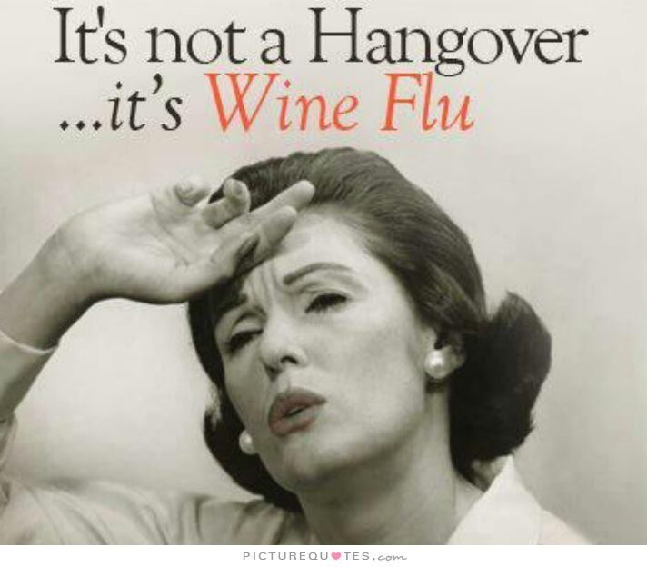 ワインフルエンザに罹ったと頭を抱える二日酔いの人