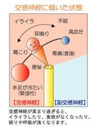 交感神経優位への傾きによる症状をまとめた図