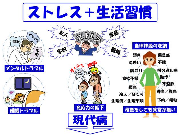 生活習慣とストレスへの対応法を示す図